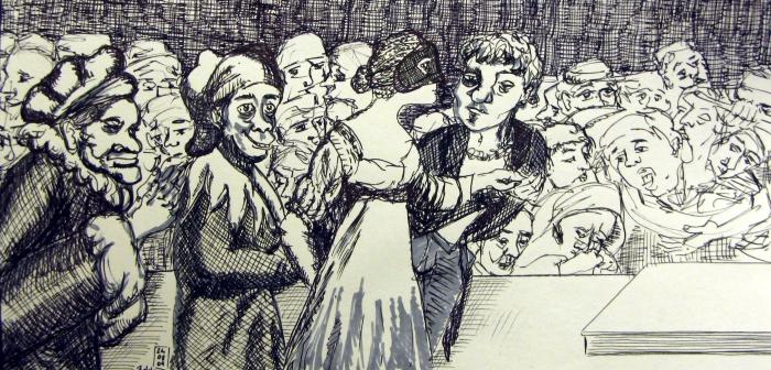 Die Hochzeitsgesellschaft- Frei nach Goya 2009_Tuschestift und Marker auf Papier- 30x15 cm